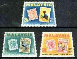 Malaysia 1967 Stamp Centenary perf set of 3 unmounted min...