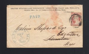 MASSACHUSETTS: Taunton 1850's #11 FORWARDED w/3cts Integral Rate CDS - Boston