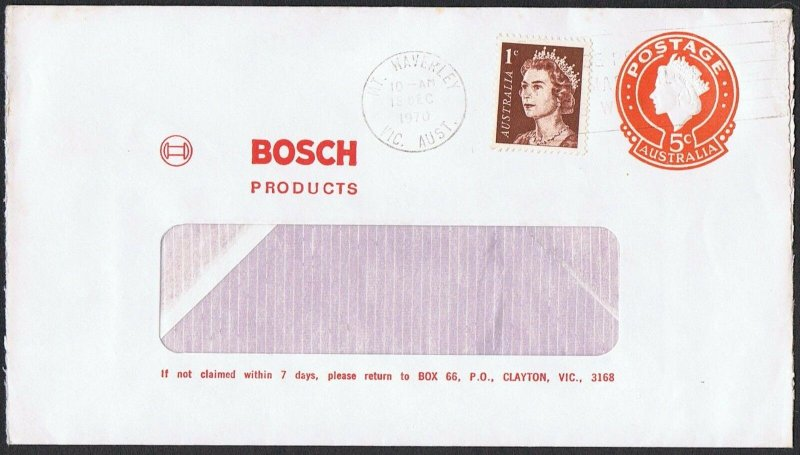 1970 QEII 5c 'Bosch' stamped window face envelope uprated with QEII 1c TS727