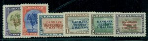 GREENLAND #22a-27a, Complete set, Wrong color ovpts, og, LH, VF, Scott $1,375.00