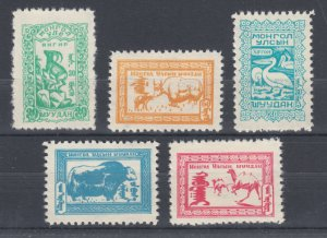 Mongolia Sc 144-148 MNH. 1958 Animals, complete set, fresh, bright, VF