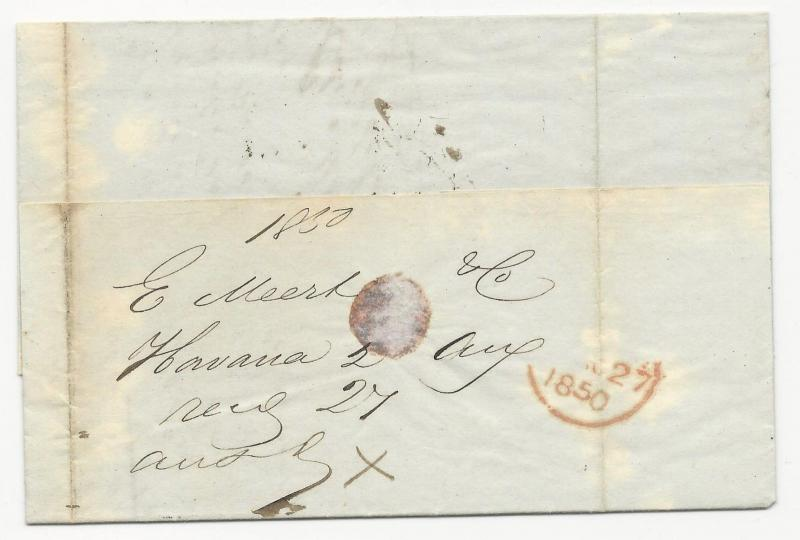 US Local Cover August 27, 1850 New York FWD Folded Letter