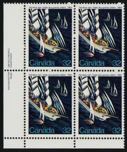 Canada 1012 BL Plate Block MNH Tall Ships, Sailing Ships