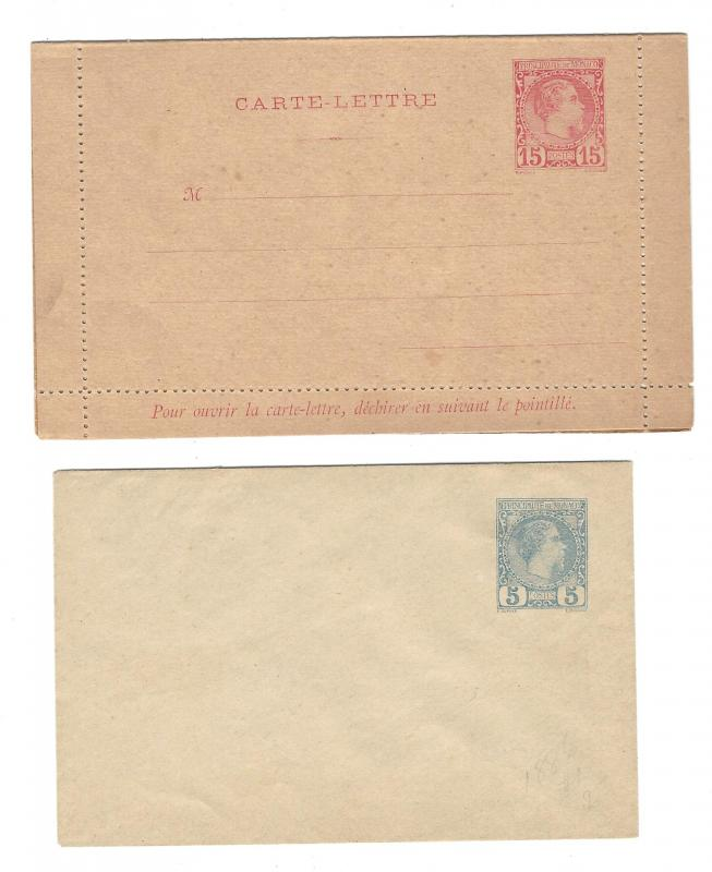 Monaco Unused Postal Stationery Stamped Prepaid 15c Lettercard 5c Envelope