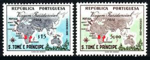 St Thomas & Prince Islands 367-368, MNH. Visit of Pres. Lopes. Map & Plane, 1954