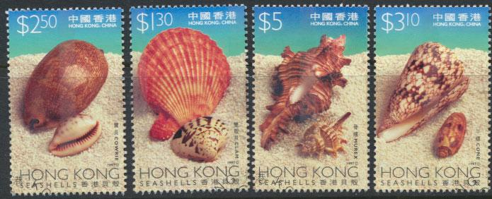 Hong Kong SG 911 - 914 set of 4 First Day of issue cancel - sea shells