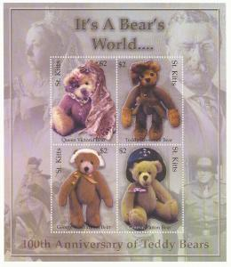 St Kitts - 2003 Teddy Bears - 4 Stamp Sheet - Scott #560