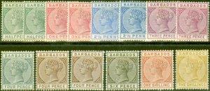 Barbados 1882-86 Extended set of 14 SG89-103 All Shades Fine Mtd Mint CV £1277