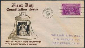 #798 LIBERTY BELL CONSTITUTION ISSUE 1ST DAY COVER 9-17-1937 BY CROSBY BS6191