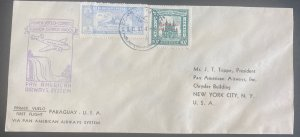 1937 Asuncion Paraguay First Flight Airmail Cover To New York USA Pan American