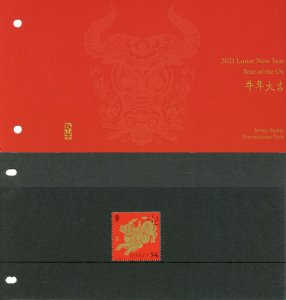 Jersey Year of Ox Stamps 2021 MNH Chinese Lunar New Yr 1v Set Presentation Pack