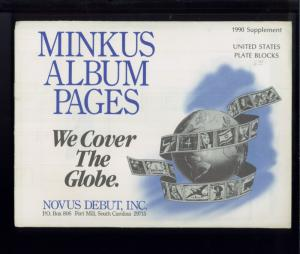 1990 United States Plate Blocks Minkus Stamp Album Collection Supplement Pages