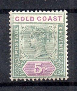 Gold Coast 1898 5/- green & mauve mint MH SG#33 WS16710