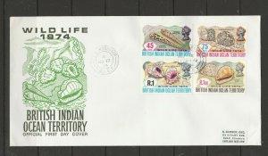 BIOT FDC 1974 Wildlife ( 2nd Series ) TPO NORDVAER cds, small label address