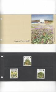 Jersey 396-8 Europa 1986 MNH, Presentation Pack