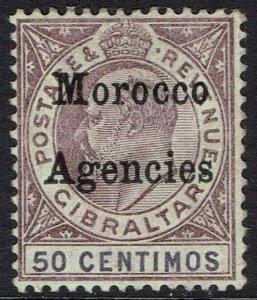 MOROCCO AGENCIES 1903 KEVII 50C WMK CROWN CA