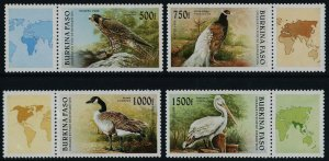 Upper Volta 1087-90 MNH Birds, Ducks, Falcon, Pelican, Map