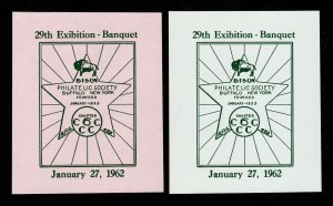 BISON PHILATELIC SOCIETY LABELS (2 COLORS) 29TH EXHIBITION - BANQUET 1962 MNG