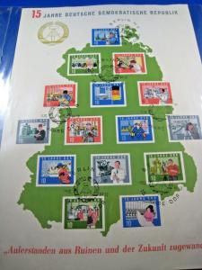 GERMANY (DDR)  -  SCOTT # 724-738  -   15 YEARS DDR  -  CTO FDC      (dd)