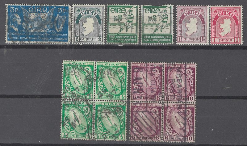 COLLECTION LOT # 2512 IRELAND 6 STAMPS + 2 BLOCKS OF 4 (#104 TEAR) 1922+ CV+$34