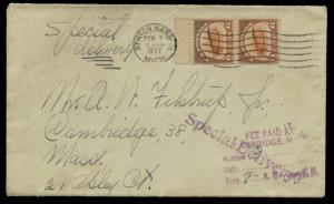 #C1 PAIR ON SPECIAL DELIVERY COVER TO MASSACHUSETTS FEB 7,1927 BQ2381