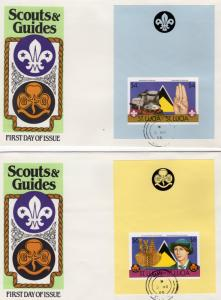 St.Lucia 1986 Scouts and Guides 2 S/S IMPERFORATED PLAIN  Sc.# 823/824 FDC (2)