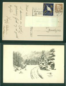 Denmark. Christmas Card 1955 With Seal + 20 Ore. Forest in Snow. Cancel: 24 Dec.