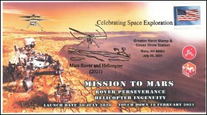21-210, 2021, Mission to Mars, Event Cover, Pictorial Postmark, Reno NV,
