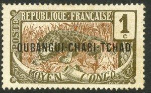 UBANGI-SHARI 1915-22 1c LEOPARD Sc 1 MH