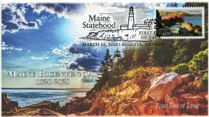 20-063, 2020, Maine Statehood, Pictorial Postmark, First Day Cover, Bass Harbor
