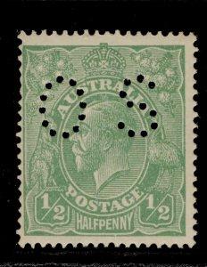 AUSTRALIA GV SG O38, ½d bright green, LH MINT. Cat £24.