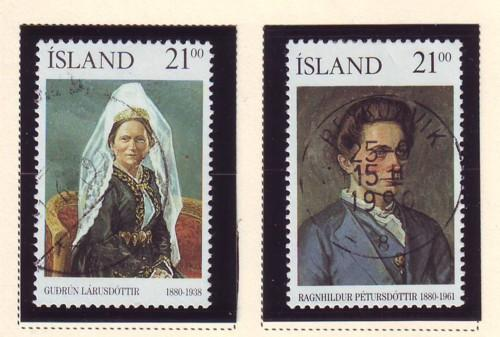 Iceland Sc 696-7 1990 Famous Women stamp set used