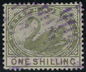 Western Australia #68 CV $7.50 1 shilling swan postage stamp, purple cancellatio