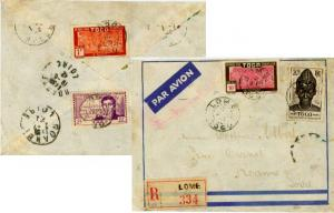 Togo 20F Togolese Woman, 10F and 1F Oil Palms and 2F Caillie 1942 Lome, Togo ...