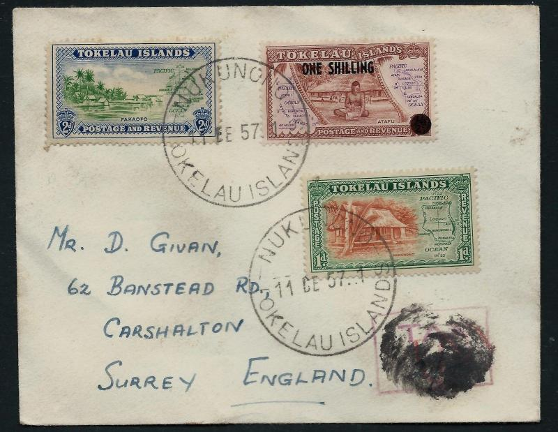 TOKELAU ISLANDS 1957 Cover to England Surcharge NUKUNONO Large CDS