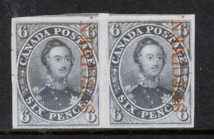 Canada #2TCv Extra Fine Proof Pair On India Paper Showing Next Stamps At Top
