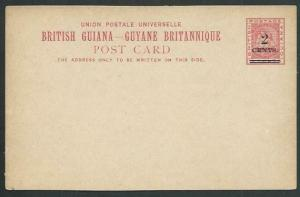 BR GUIANA QV 2 CENTS on 3c ship type postcard fine unused..................61483