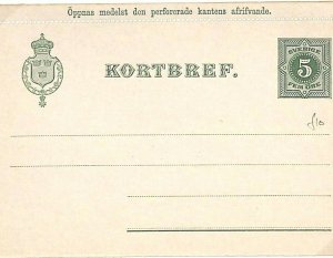 Sweden Unused Postal Stationery LETTER-CARD 5 Ore {samwells-covers} L108