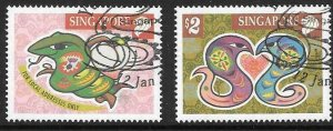 SINGAPORE SG1082/3 2000 YEAR OF THE SNAKE FINE USED