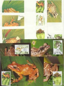 Fiji 8 FDC/cards WWF/Frogs 1988