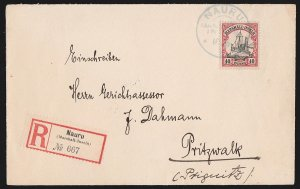 NAURU : 1910 Registered cover Marshalls Yacht. To Germany. with Certificate.