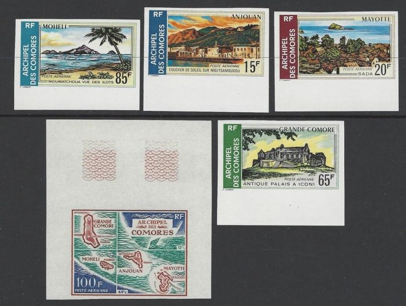 Comoro Islands 1971 Village Palm Tree Map Imperf VF MNH (C32-6)