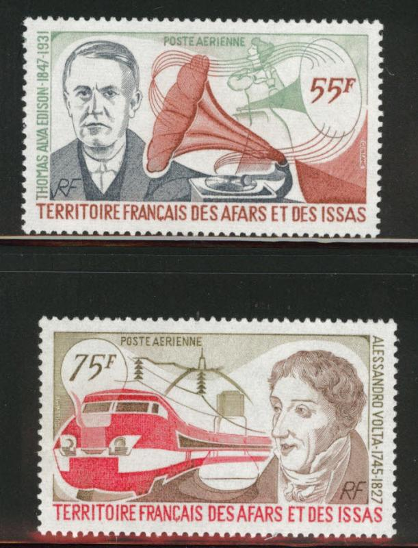 Afars and Issas Scott C104-105 MNH**  Edison Volta 1977 set