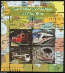 MADAGASCAR 2015  TRAINS OF OCCIDENTAL EUROPE  SHEET OF FOUR  MINT NH