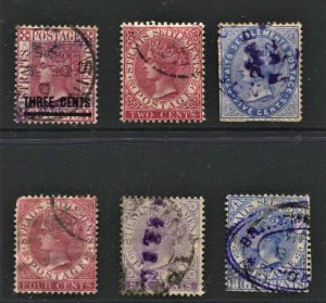 STAMP STATION PERTH  Straits Settlements #6 X QV Stamps Used - Unchecked