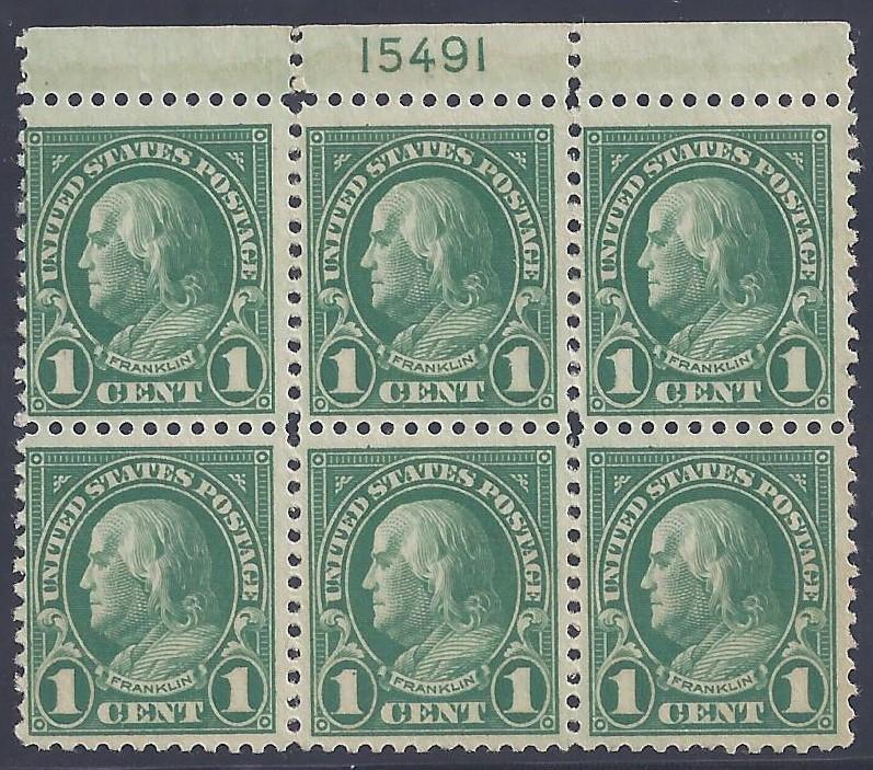 Scott #552 Mint plate block of 6