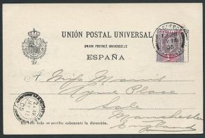 SIERRA LEONE 1905 EVII 1d on Las Palmas postcard PAQUEBOT / PLYMOUTH cds...46147