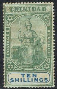 TRINIDAD 1896 BRITANNIA 10/- WMK CROWN CA