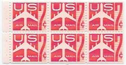 US #C60a Booklet pane of 6.  MNH.  Jet - Red