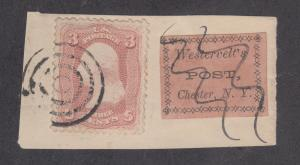 US Sc 65, 144L1 on small piece, Westervelt's Local Post, APEX Cert.